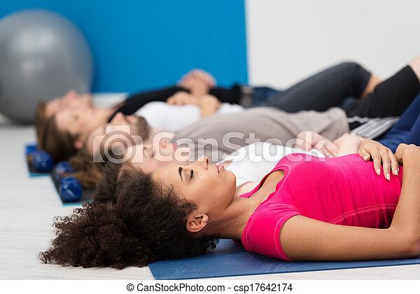 respiration, pratiquant, classe, profond, aérobic - csp17642174