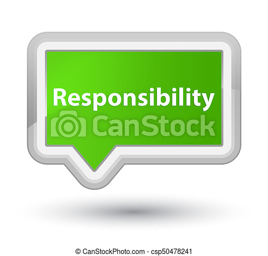 Responsibility prime soft green banner button - csp50478241