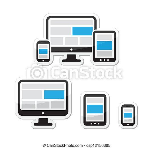 Responsive design for web icons set - csp12150885