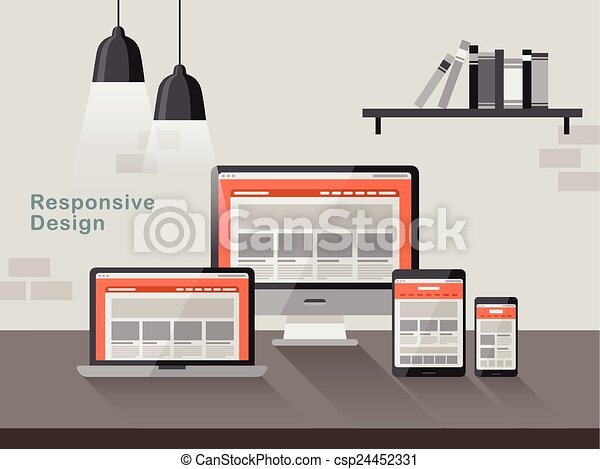 responsive design on different devices in flat design  - csp24452331