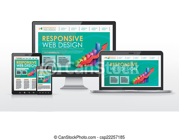 responsive web design concept in different devices - csp22257185
