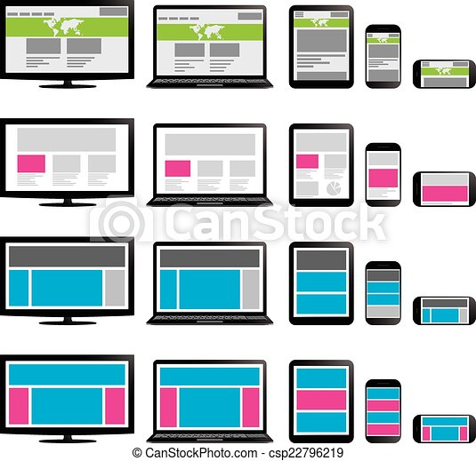 Responsive Web Design. On phone, laptop, screen and tablet - csp22796219