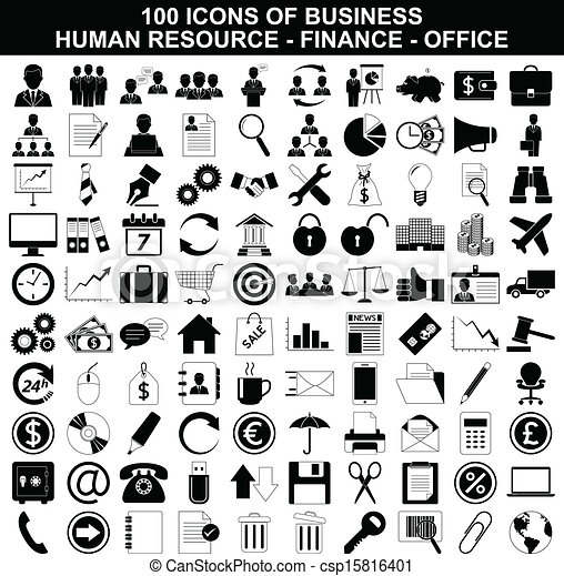 ressource, ensemble, finance, icônes bureau, business, humain - csp15816401