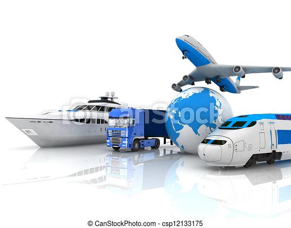 Verkehrsmittel mit einem Globus - csp12133175