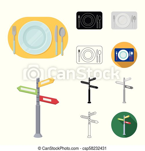 Rest and travel cartoon, black, flat, monochrome, outline icons in set collection for design. Transport, tourism vector symbol stock web illustration. - csp58232431