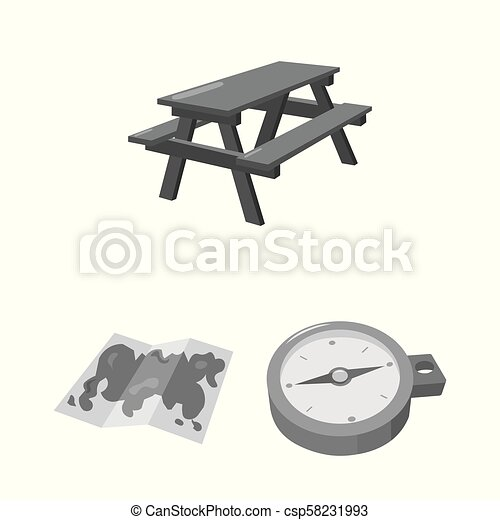 Rest in the camping monochrome icons in set collection for design. Camping and equipment vector symbol stock web illustration. - csp58231993