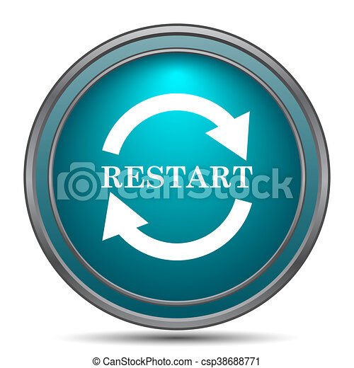 restart icon internet button on white background can stock photo