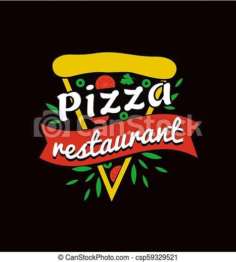 restauracja, logotype, promocyjny, jasny, smakowity, pizza - csp59329521