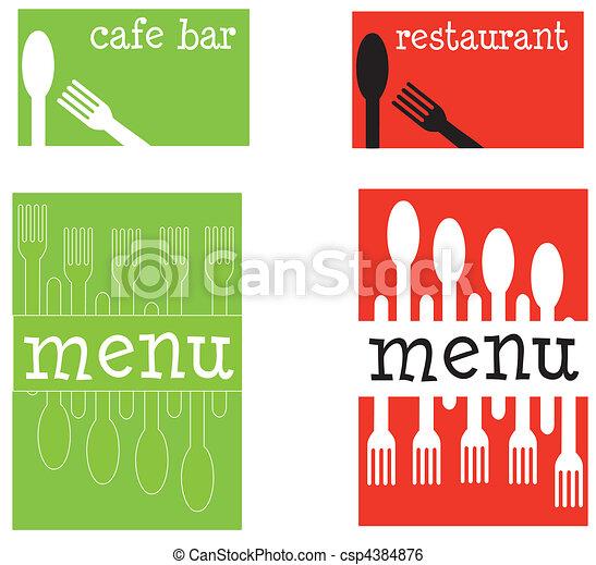 restauracyjny jadłospis, covers., zabawa, kawiarnia, albo - csp4384876
