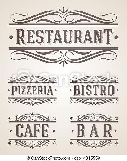 restaurant, étiquettes, café, signe - csp14315559