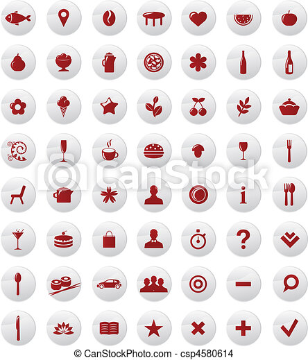 Restaurant And Map Icons Vector Set - csp4580614