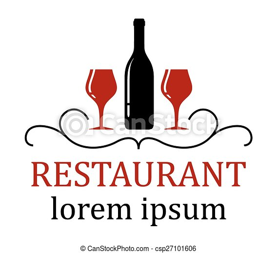 restaurant background with wine glass and bottle - csp27101606