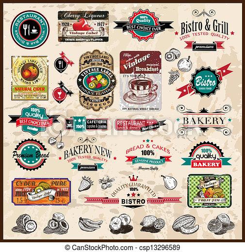 restaurant, bistro, différent, étiquettes, prime, &, nourriture, vendange, espace, text., collection, styles, co, qualité - csp13296589