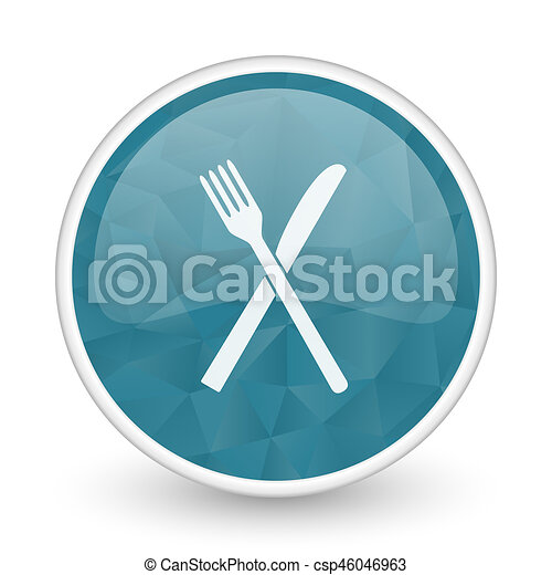Restaurant brillant crystal design round blue web icon. - csp46046963