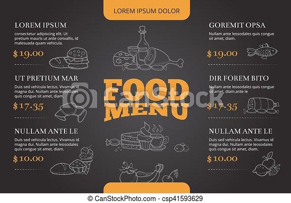 restaurant brochure menu vector design with hand drawn doodle food
