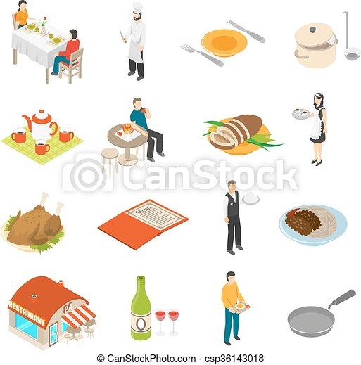 Restaurant Cafe Bar Isometric Icons Set  - csp36143018