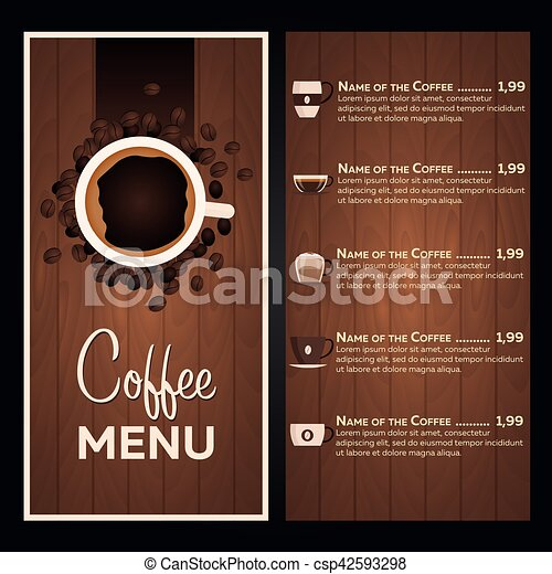Restaurant cafe menu. Coffee Menu. - csp42593298