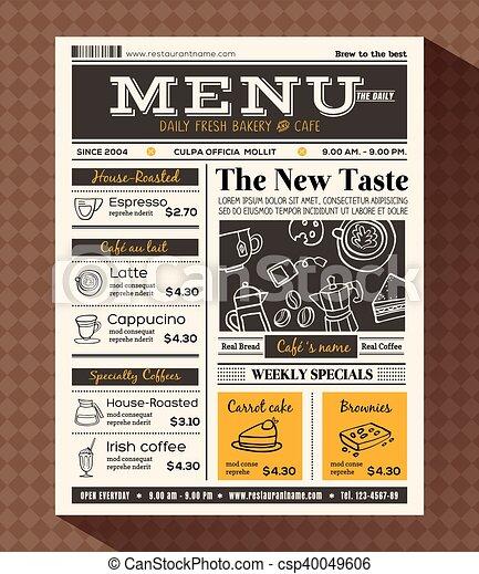 Restaurant Cafe Menu Design Template In Newspaper Style
