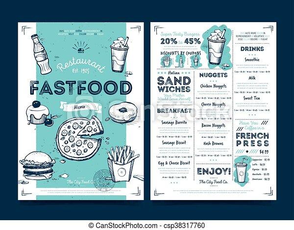 Restaurant cafe menu template design, vector - csp38317760