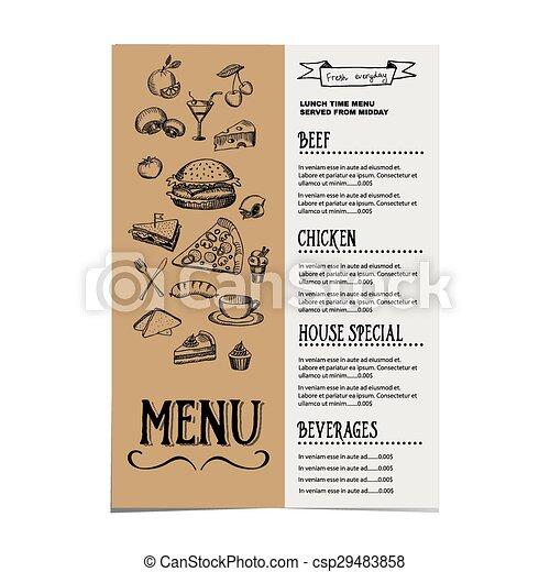 Restaurant cafe menu, template design. - csp29483858