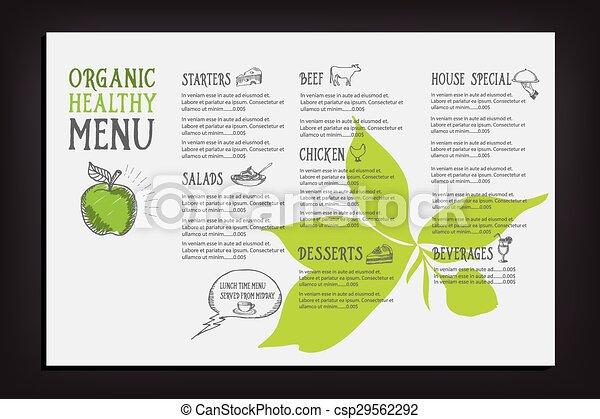 Restaurant cafe menu, template design. - csp29562292