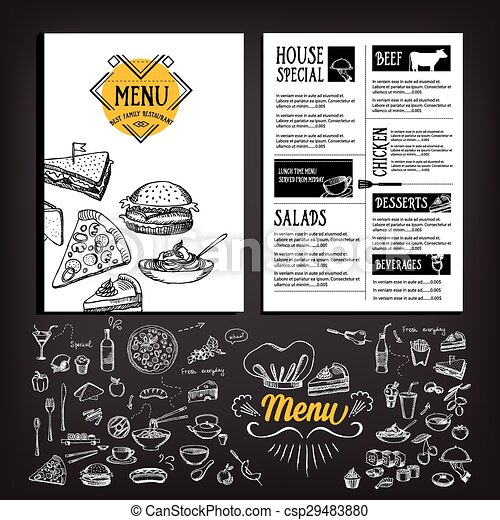 Restaurant cafe menu, template design. - csp29483880
