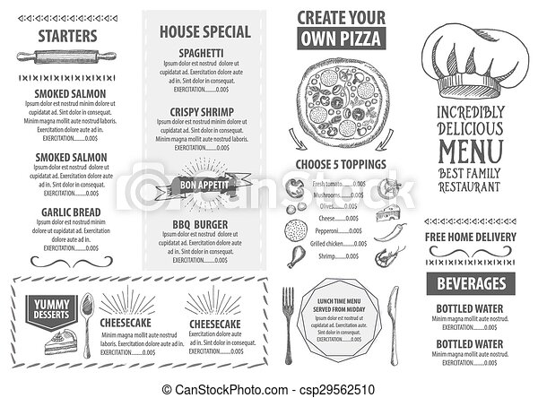 Restaurant Cafe Menu Template Design Food Flyer  Vector Clip