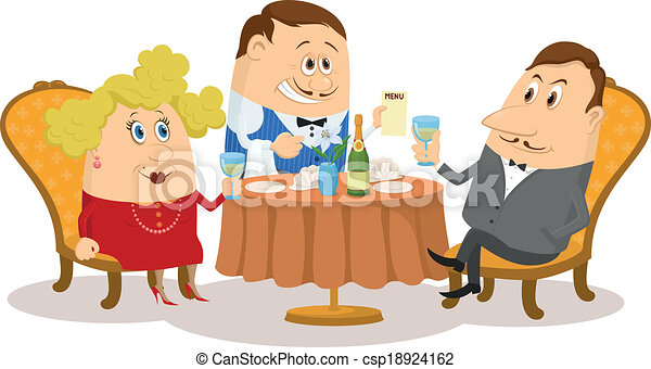 Dessin Restaurant restaurant, couple near table, isolated. couple in love in a