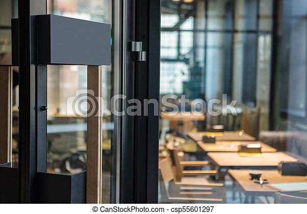 Restaurant Door Handle With Pull Sign On Glass Doors Front Door In
