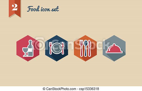 Restaurant food flat icons set. - csp15336318