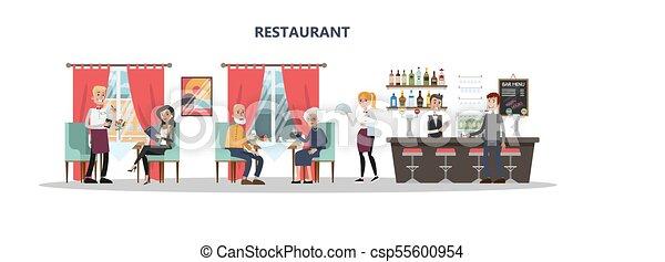 Gente en el restaurante. - csp55600954