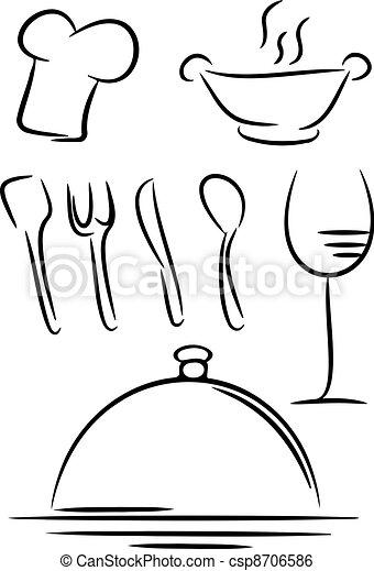 restaurant, icône - csp8706586