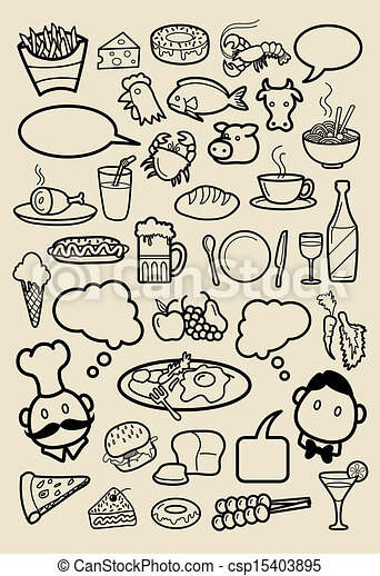 Restaurant Icons Doodle Spontaneous Hand Drawing Of Food And