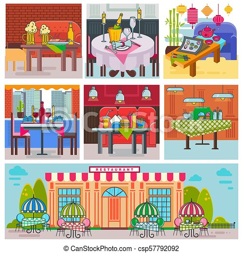 Restaurant Interior Vector Cafe Building And Decor Dining Furniture Table Chair For Romantic Lunch Dinner In Cafeteria Club Bar Or Pub Set Illustration