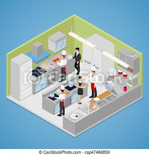 Restaurant Kitchen Interior Chef Cooking Food Isometric Vector Flat 3d Illustration