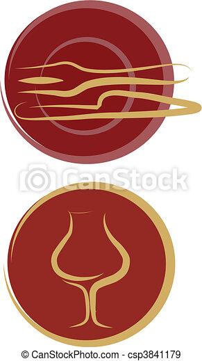 restaurant logos, plate, fork, knife, glass - csp3841179