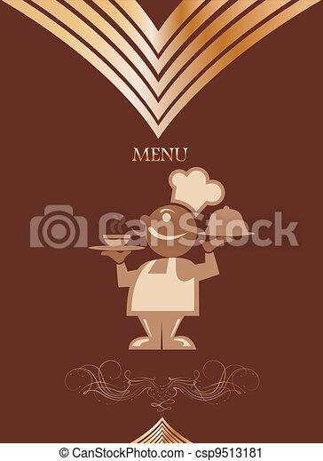 Restaurant menu design with chief. Vector - csp9513181