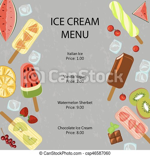 restaurant menu template of popsicles with berries and fruits