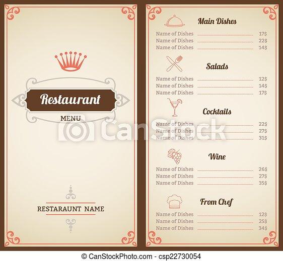 restaurant menu template restaurant menu list brochure with food
