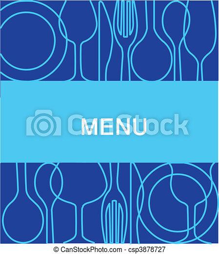restaurant menu with a background in blue -2 - csp3878727