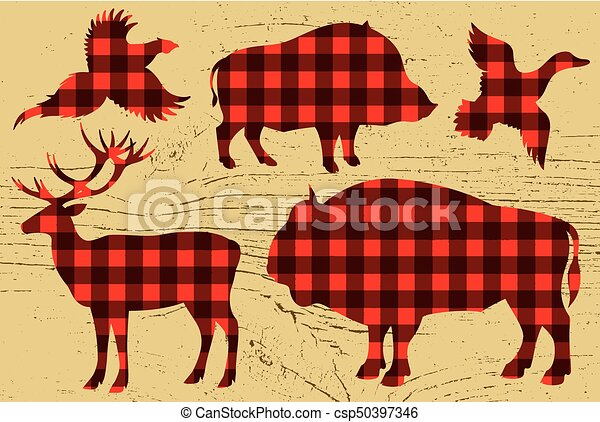 restaurant menu with pheasant, boar, bison, deer, duck - csp50397346