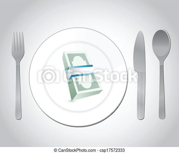 restaurant money illustration design - csp17572333