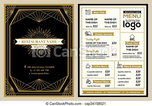 restaurant or cafe menu cover design template with vintage retro art