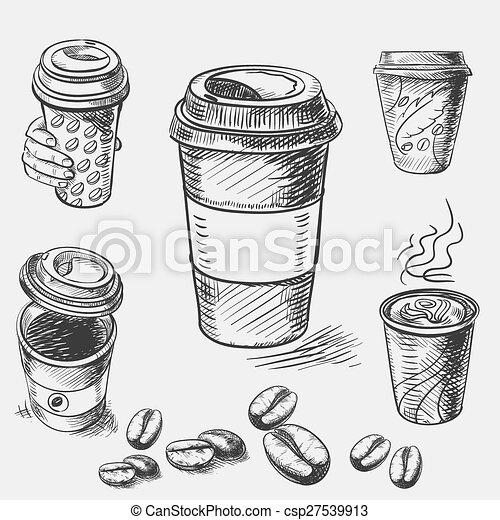 restaurant, ouderwetse , schets, kop, doodle, takeaway koffie, hand, papier, koffiehuis, menu, getrokken, coffeehouse, bar - csp27539913