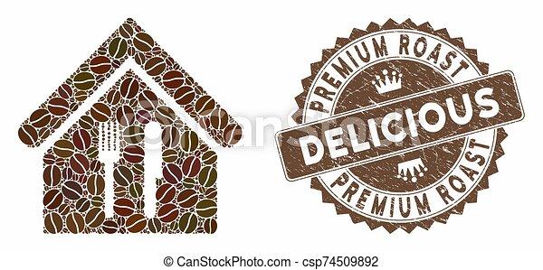 restaurant, prime, délicieux, timbre, détresse, café, rôti, mosaïque - csp74509892