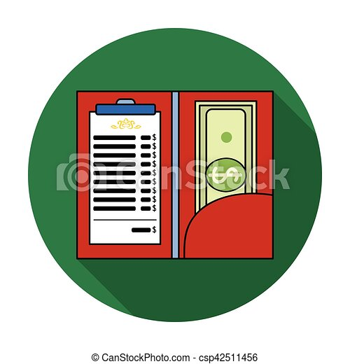 Restaurant receipt with cash icon in flat style isolated on white background. Restaurant symbol stock vector illustration. - csp42511456