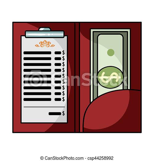 Restaurant receipt with cash icon in cartoon style isolated on white background. Restaurant symbol stock bitmap, rastr illustration. - csp44258992
