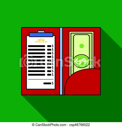 Restaurant receipt with cash icon in flat style isolated on white background. Restaurant symbol stock vector illustration. - csp46766022