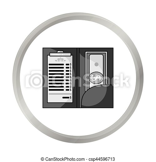 Restaurant receipt with cash icon in monochrome style isolated on white background. Restaurant symbol stock vector illustration. - csp44596713