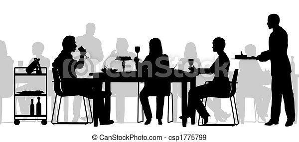 Restaurant Scene Editable Vector Silhouette Of People